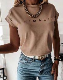 Дамска тениска с надпис в цвят капучино - код 4078
