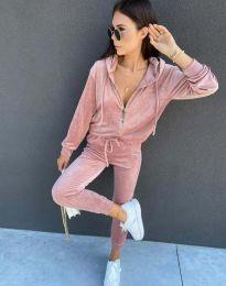 Спортен дамски комплект със суичър с цип и качулка и долнище в розово - код 7953