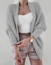 Дамска плетена жилетка в сиво - код 5128