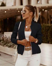 Късо елегантно дамско яке с цип в черно - код 7887