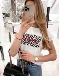 Дамска тениска в бяло с ефектен надпис - код 11708