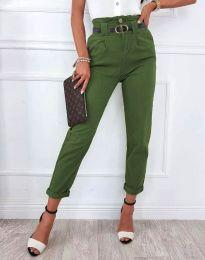 Елегантен дамски панталон с висока талия в масленозелено - код 4655