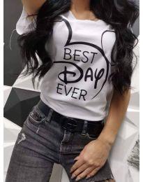 Тениска в бяло с принт - код 469