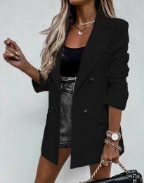 Елегантно дълго дамско сако в черно - код 3716