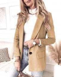 Елегантно дамско палто в цвят капучино - код 1345