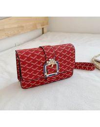 Дамска чанта в червено с ефектен десен - код B94