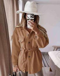 Дамско палто с копчета и колан в кафяво - код 6398