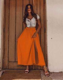 Дамска дълга пола в оранжево с цепка - код 8231