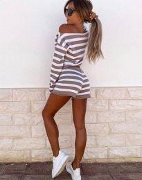 Ежедневен дамски сет блуза и къси панталонки рипс в кафяво райе - код 4634
