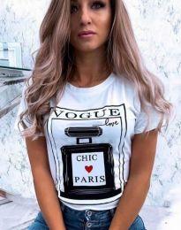 Бяла тениска с принт - код 9362