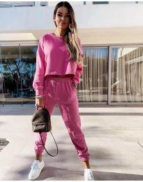Спортен комплект със свободна блуза в розово - код 6931