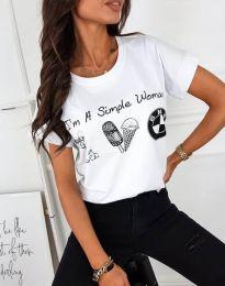 Дамска тениска в бяло с щампа - код 8383