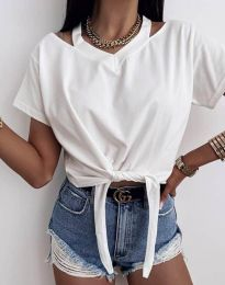 Ефектна дамска тениска в бяло - код 11669