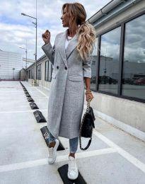 Дълго елегантно дамско палто с копчета в сиво - код 8746