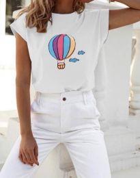 Бяла тениска с принт - код 8616