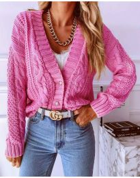 Дамска къса плетена  жилетка с копчета в розово - код 3876