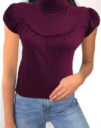 Дамска блуза в цвят бордо с къс ръкав и поло яка - код 0216