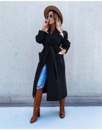 Дълго елегантно дамско палто с колан в черно - код 5877