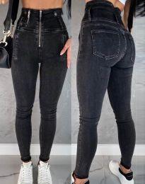 Дамски дънки в черно с висока талия - код 4311