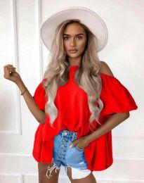Атрактивна елегантна свободна дамска блуза с паднали рамене в червено - код 0157