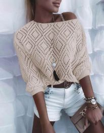 Дамска блуза от плетиво с голо рамо в бежово - код 4701