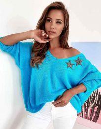 Дамски свободен пуловер с паднало рамо в синьо - код 1865