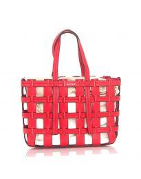 Дамска чанта в червено преплетене тип кошница - код LS563