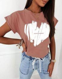 Атрактивна тениска с принт в цвят пудра - код 11901