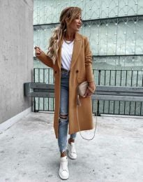 Дълго елегантно дамско палто с копчета в цвят капучино - код 8746