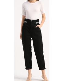 Черен панталон с колан - код 7199