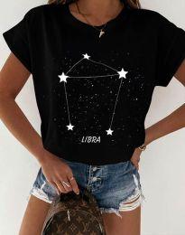 Дамска тениска с принт зодия везни черно - код 2342