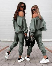 Дамски комплект блуза и спортен панталон в масленозелено - код 2210