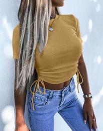 Къса дамска тениска в цвят капучино - код 2425