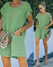 Свободен къс дамски гащеризон в зелено - код 6313