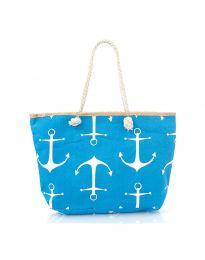 Плажна чанта в синьо на котви с въжени дръжки - код H-9026