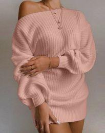 Дълга дамска туника от плетиво с паднало рамо в цвят пудра - код 7962