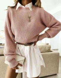 Дамски свободен пуловер в цвят пудра - код 4180