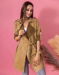 Атрактивно дълго дамско сако велур с колан в цвят капучино - код 7893