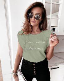 Дамска тениска с надпис в светлозелено - код 11905
