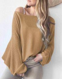 Дамска свободна блуза с паднало рамо от плетиво в кафяво - код 4588