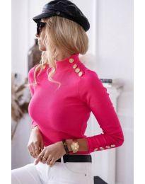 Дамска блуза с поло яка рипс в цвят циклама - код 6343