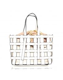 Дамска чанта в бяло преплетена тип кошница - код LS563
