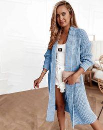 Дълга плетена дамска жилетка в светлосиньо - код 4075