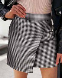 Къса атрактивна дамска пола с прехлупване в сив десен - код 2544 - 2