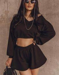 Дамски сет къса блуза с дълъг ръкав и къси панталонки в черно - код 47599