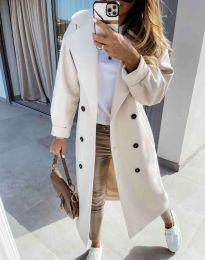 Дълго елегантно дамско палто в бяло - код 6452
