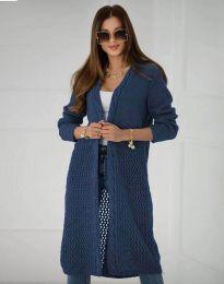 Атрактивна дамска дълга плетена жилетка в тъмносиньо - код 7361
