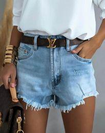 Къси дънкови панталонки в светлосиньо - код 4309