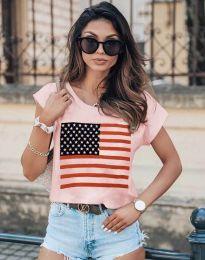 Атрактивна тениска в розово с принт - код 0215
