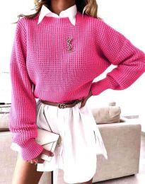 Дамски свободен пуловер в цвят циклама - код 4180